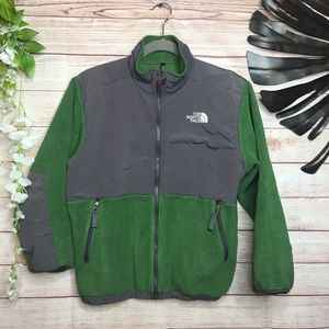 The North Face green and gray boy's fleece L